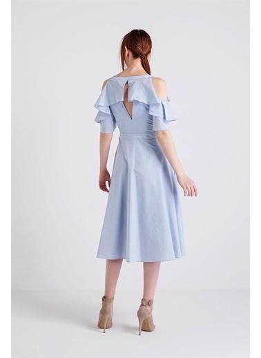 Rue Volanlı Midi Elbise Mavi